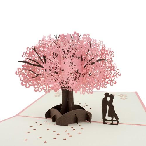3D přání - pár se sakurou