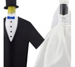 Oblek na fľašu vina - novomanželia