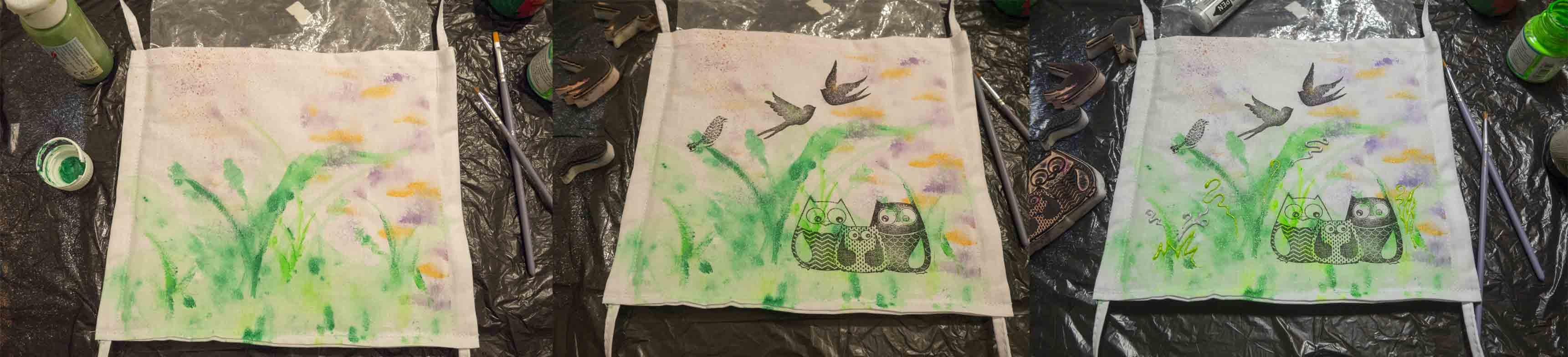 1. malování podkladu, 2. tisk razítky 3. domalování detailů